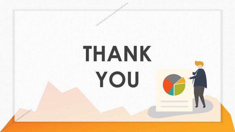 playful pie chart thank you slide with illustration