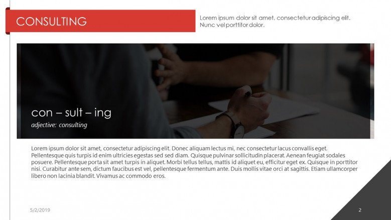 consulting presentation with generic text and image