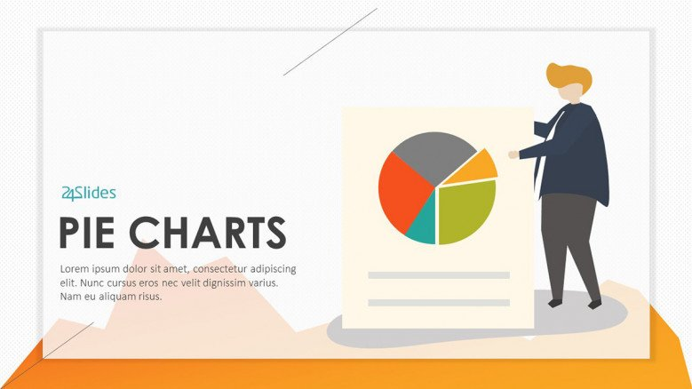 playful pie chart with illustration welcome slide