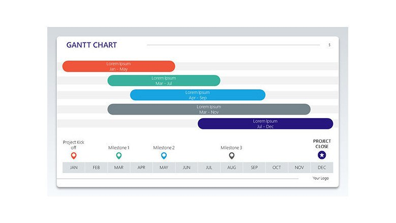 5 row gantt chart in various colours