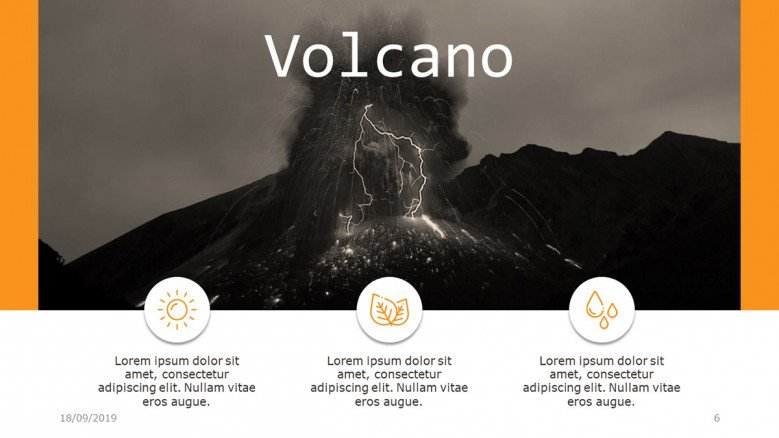 Horizontal three points list with a volcano image as header