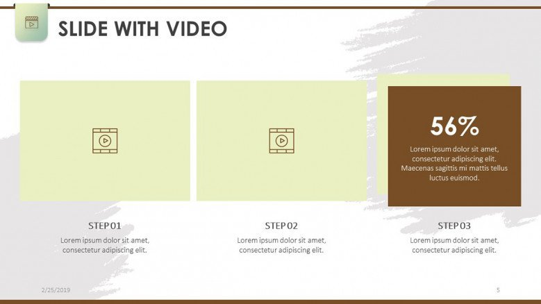 slide with two step video and data