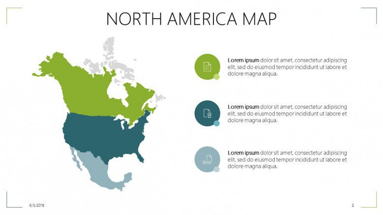 North America map slide with informative text