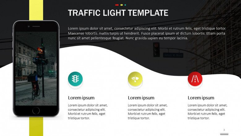 Creative Text Slide with traffic light icons in green, yellow, and red