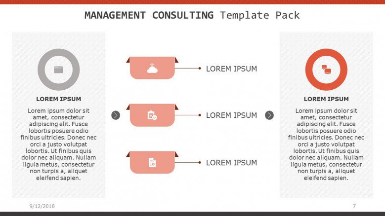 management consulting slide in three key factors with comment box