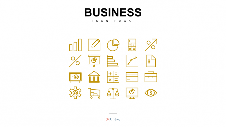 Presentation icons for business use with gold color