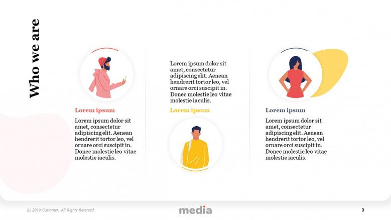 Meet the social media team slide with male an female vector illustrations