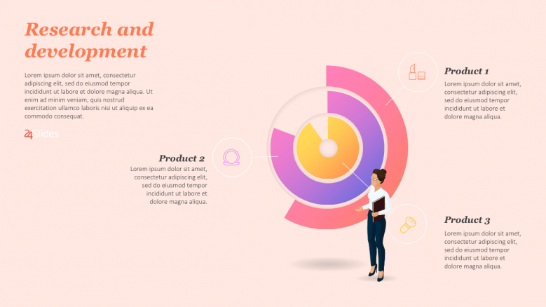 Colorful circles with 3 data illustration points