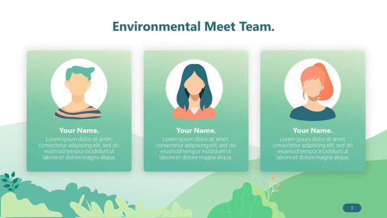 environmental team profile in playful illustration
