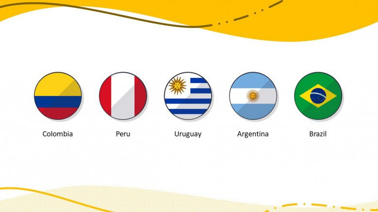 South American Country flags in PowerPoint