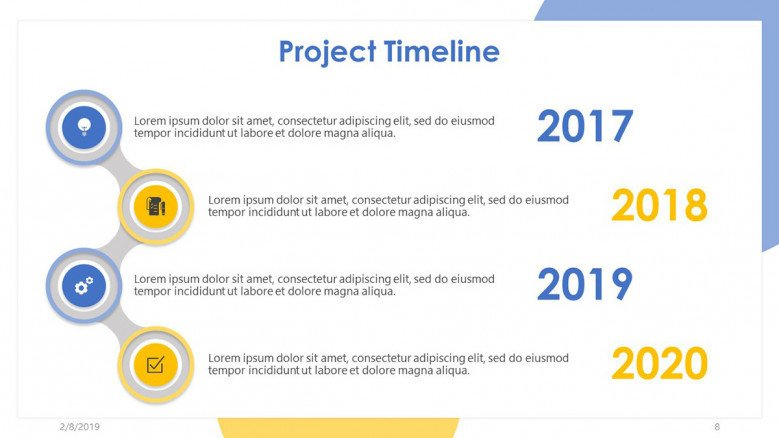project timeline slide in four yearly time frame