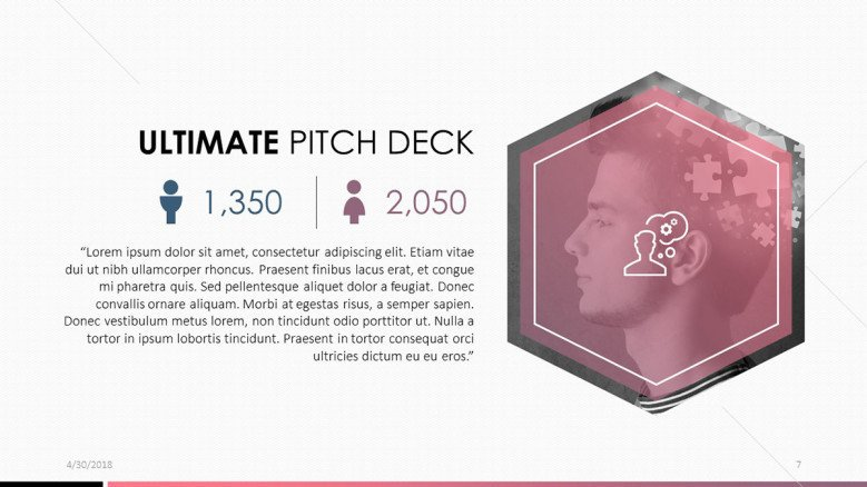 pitch deck data analysis slide with text and picture
