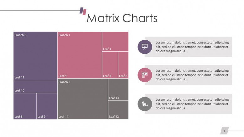 table-like matrix chart slide with text