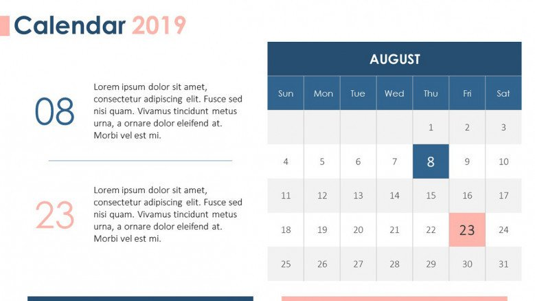 2019 calendar august with description text
