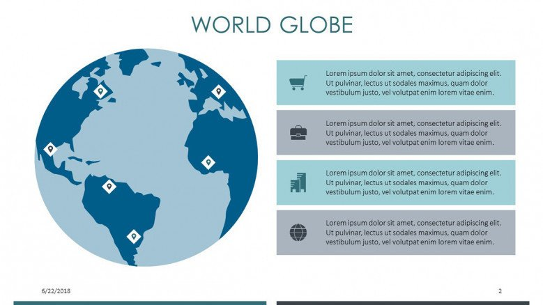 world globe slide with four key factors in comment boxes