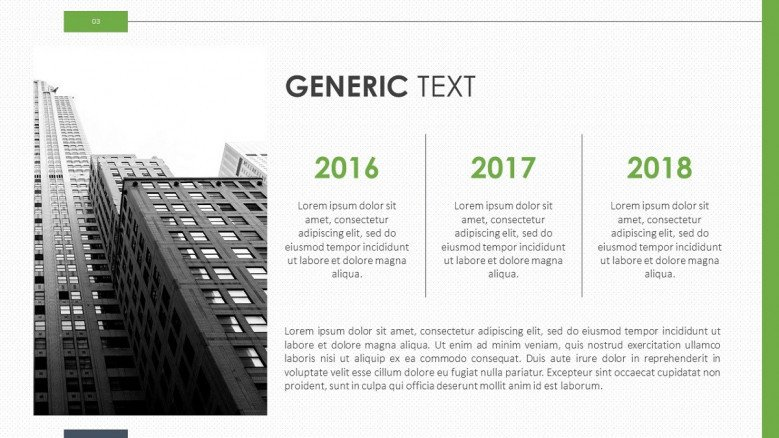 generic text yearly timeline slide with image