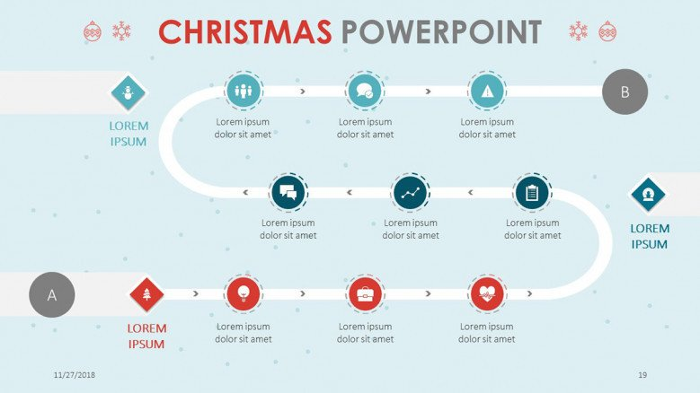 flowchart slide in christmas theme presentation