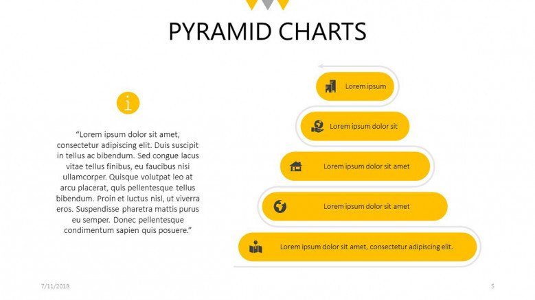 pyramid chart with label and description text