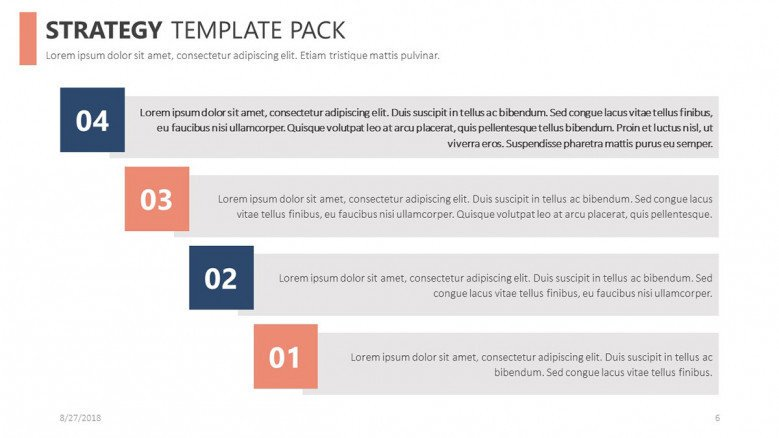 strategy slide in four steps chart with comment boxes