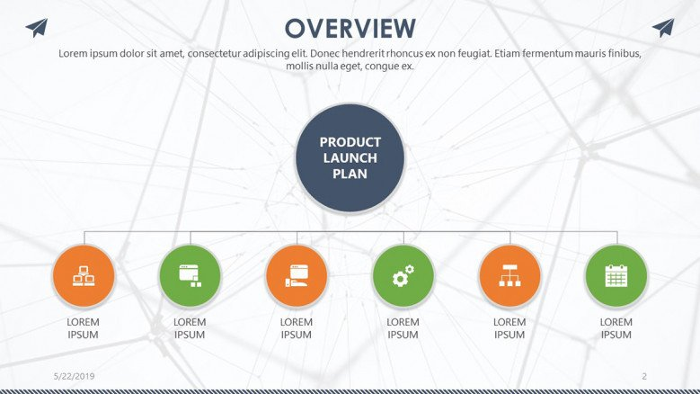 product launch overview slide in timeline chart