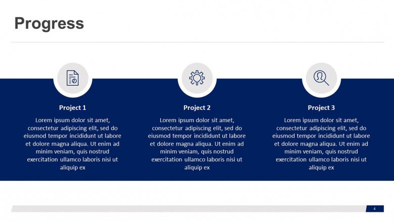 Blue-and-white Progress Slide with business icons