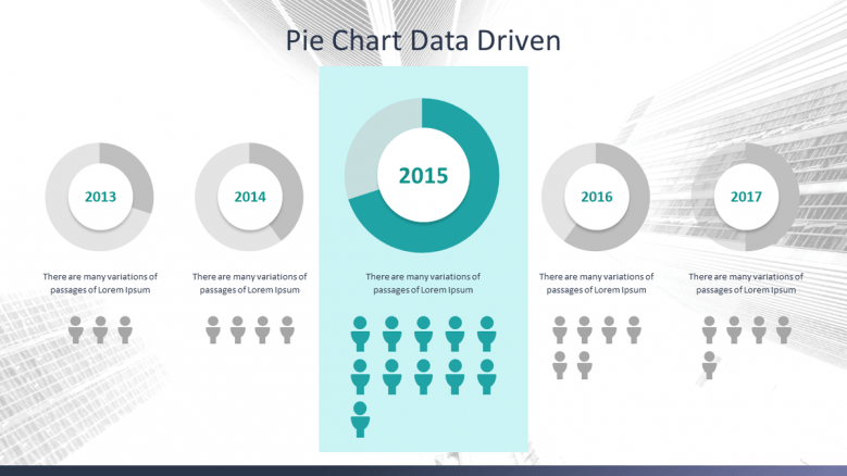 data driven compared pie chart with key indicators