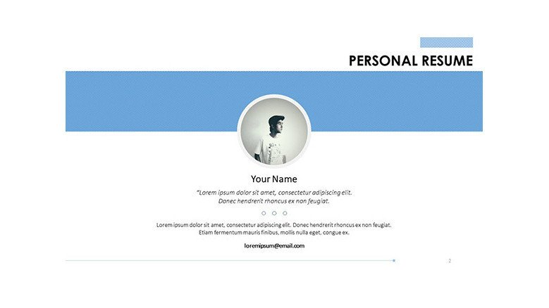 personal resume profile overview slide with picture