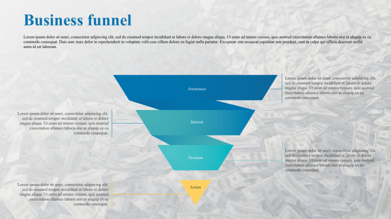 Colorful pyramid for business funnels presentation slide