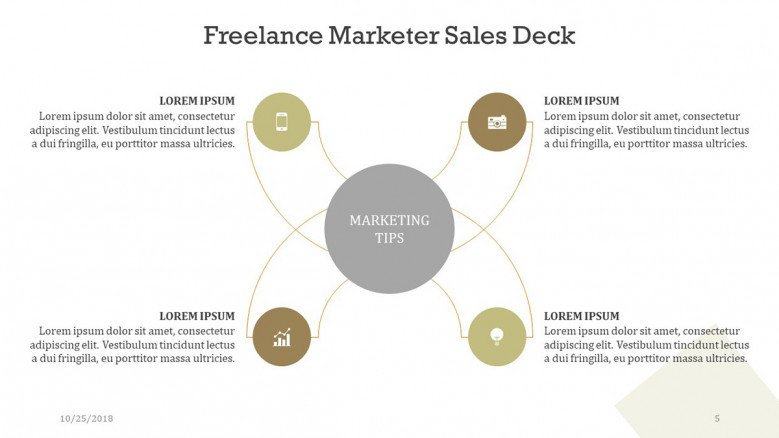 freelance marketer sales brainstorm diagram with icons