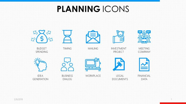 planning icons in blue