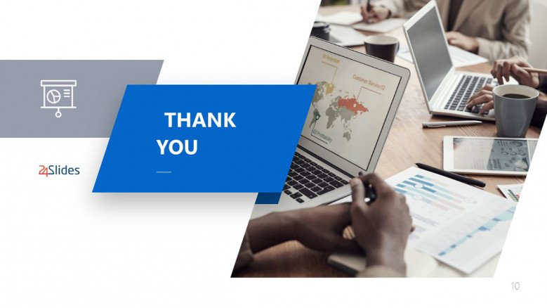 Blue Thank You Slide in Corporate style