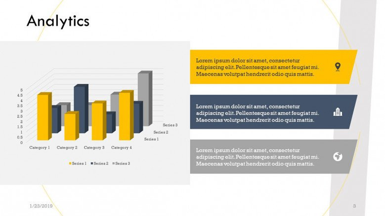 analytics slide with vertical bar chart and description text