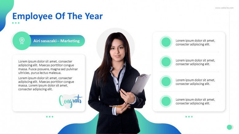 """Employee of the Year' congratulatory slide with key highlights in bulletpoint and picture"