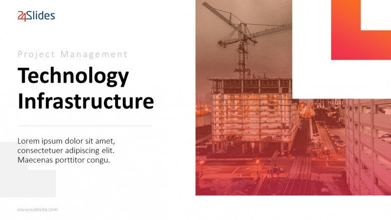project management on technology infrastructure welcome slide in creative design