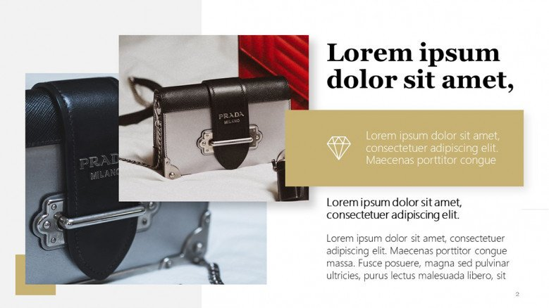 Luxury Brand PPT Slide for images and product descriptions
