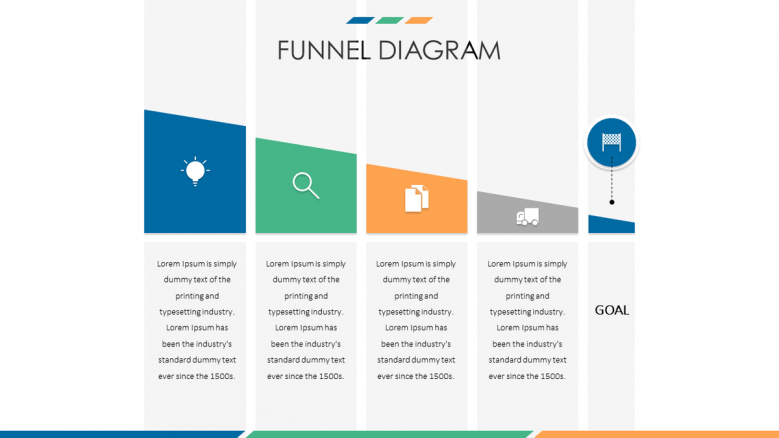 business funnel diagram in five stages with icon