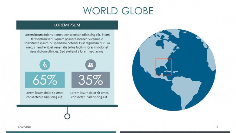 world globe slide with compared two data percentage and text
