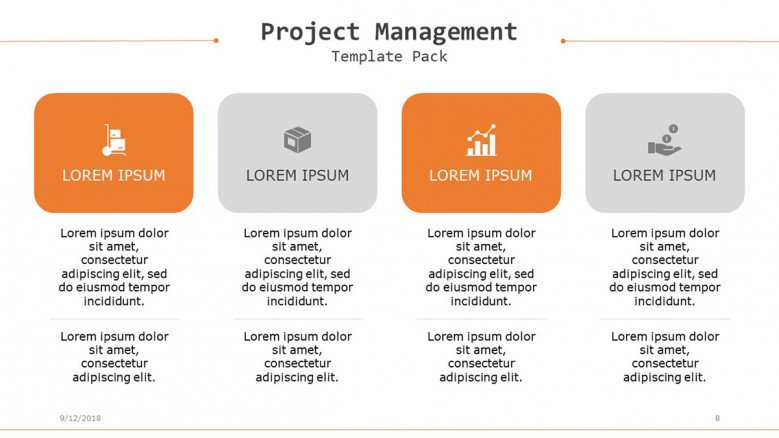 project management targets and goals in four columns with text