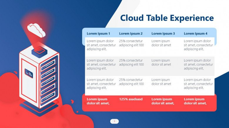 Creative Table for a Cloud Computing Presentation