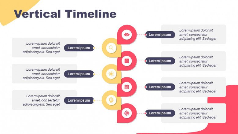 Vertical Timeline with eight circles