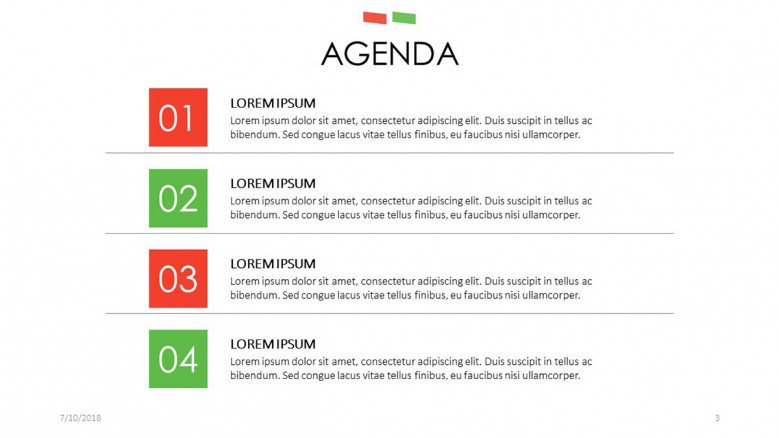 agenda slide in four key points with description text