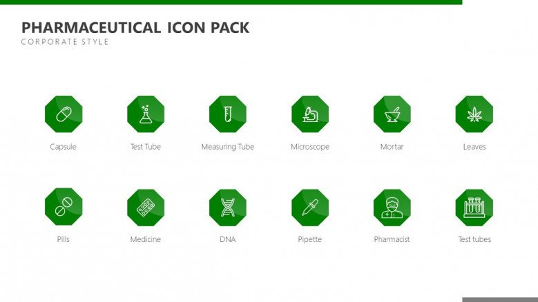 pharmaceutical icons in green corporate style