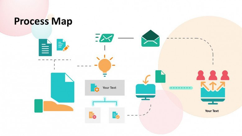 Process map Slide with playful icons
