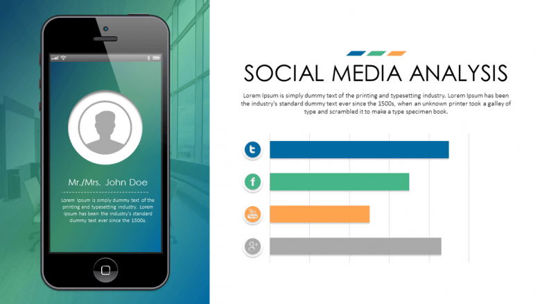 business slide social media analysis with bar chart