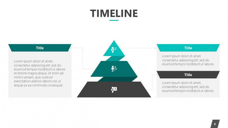 timeline slide in pyramid diagram