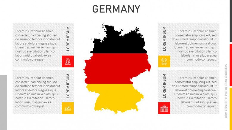Germany Flag map with four text boxes and icons