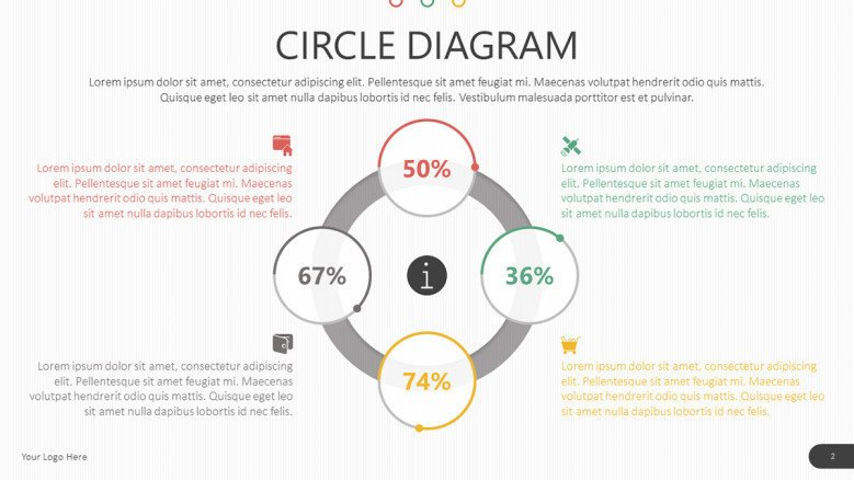 circle diagram in four key points with data percentage information