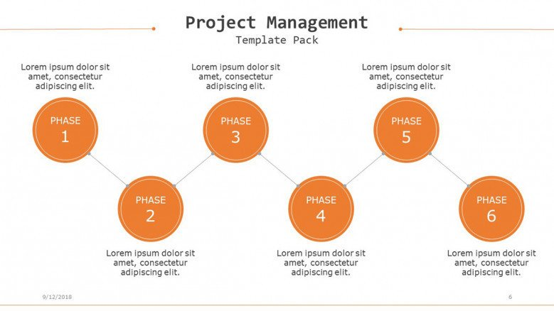 project management slide in process chart with six stages