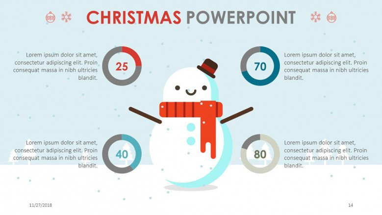 doughnut pie chart slide for christmas theme presentation