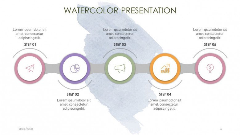 Five steps timeline with watercolor background